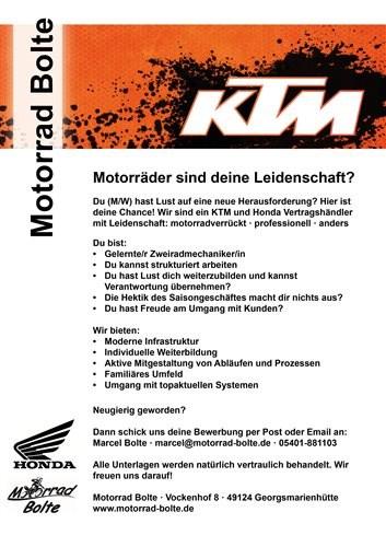 Motorradmechaniker gesucht