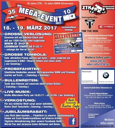 SAISONSTART-PARTY 2017. DAS MEGA EVENT 35 Jahre ZTK / 10 Jahre BMW Könemann
