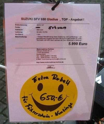 Suzuki SFV650-ABS - Gladius für nur 5340,- Euro !!!!  - Motorrad des Monats Juli 2012 !!!