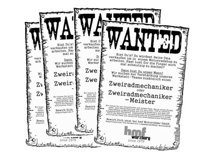 WANTED - Wir suchen Dich (Zweiradmechaniker)