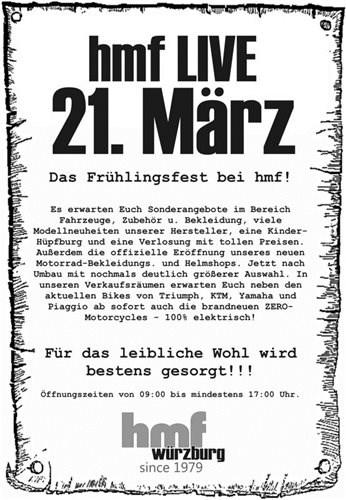 hmf LIVE Biker-Frühlingsfest am 21. März 2015