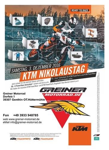 Nicht verpassen am 03.12.2016 ist KTM Nikolaustag
