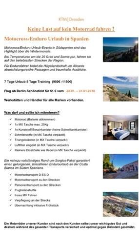 MX Urlaub in Spanien mit KTM Dresden